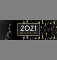 new year 2021 banner pattern with champagne vector image