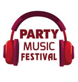 Party music festival red headphone background vect