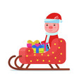 piggy sitting in colorful sleigh with gifts vector image