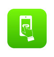 playing games on smartphone icon digital green vector image