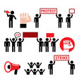 protest strike people demonstrating or fighting vector image vector image