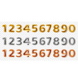 realistic metal numbers 3d steel numeral shapes vector image