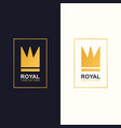 royal crown logotype gold style vector image vector image