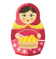 russian matrishka in kerchief with patties in vector image vector image