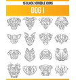 scribble black icon set dogs i vector image vector image