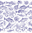 seafood seamless pattern sketch fish hand drawn vector image vector image
