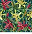 Seamless background from yellow and red tiger lily vector image vector image