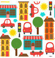 seamless pattern with houses and cars vector image vector image