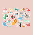 set colorful stickers with cute and funny vector image