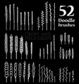 set of doodle brushes in the form of spikelets vector image vector image