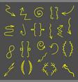 set of hand drawn arrows icon hand drawn vector image