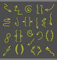 set of handrawn arrows set icon hand drawn vector image