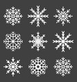 set of snowflake icons on a gray background vector image vector image