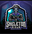 skull ninja esport mascot logo vector image vector image