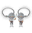 two knights with speech bubbles vector image vector image