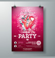 valentines day party flyer design with vector image vector image