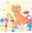vintage cat background vector image vector image