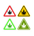warning sign attention drugs dangers of marijuana vector image