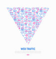 web traffic concept in triangle vector image vector image