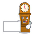 with board grandfather clock character cartoon vector image vector image
