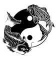 ying yang symbol with koi fishes vector image vector image