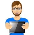 young hipster man displaying tablet vector image vector image