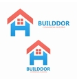 Letter H and real estate logo template vector image