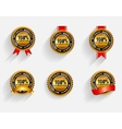 100 Satisfaction Gold Label Set with Red Ribbon vector image vector image