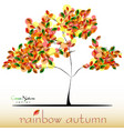 abstract tree in green red yellow foliage at fall vector image vector image