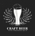 beer design template hand drawn on chalk board vector image