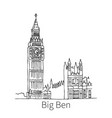 big ben drawing sketch vector image vector image