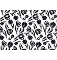 black and white sketch tulip seamless pattern vector image vector image
