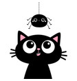 black cat kitten face head silhouette looking up vector image vector image