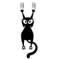black cat scratching wall silhouette vector image vector image