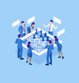 business strategy concept isometric businessmen vector image