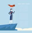 business triumph woman top flag point goal vector image vector image