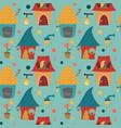 cartoon houses childlike pattern on blue backgroun vector image