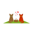 cat lovers on picnic meal in nature blanket and vector image vector image