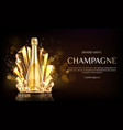 champagne bottle with gold crystal grains banner vector image