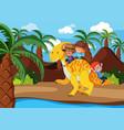 children riding a dinosaur vector image