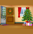 christmas living room with winter lanscape vector image