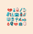 collection trendy flat icons of medical elements vector image