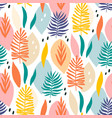 colorful hawaiian plants seamless pattern vector image