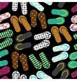 colorful variation of flip flops summer shoes dark vector image