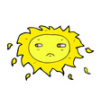 comic cartoon sad sun vector image vector image