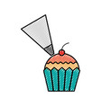 cupcake cherry and icing bakery pastry food fresh vector image vector image