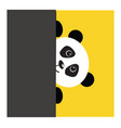 cute black and white panda peeking behind a grey vector image vector image