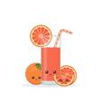 cute kawai smiling cartoon grapefruit juice vector image