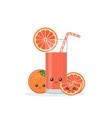 cute kawaii smiling cartoon grapefruit juice vector image vector image