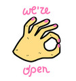 doodle beautiful hand-drawn woman hands with pink vector image
